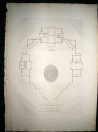 Vitruvius Britannicus C1720 Architectural Plan. Roehampton House, London